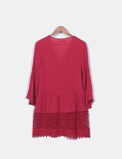 Vestido crochet granate
