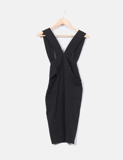 1a998247f4 Zara Vestido negro ajustado con aberturas laterales (descuento 78 ...