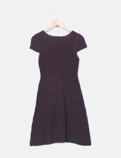 Vestido lana marron