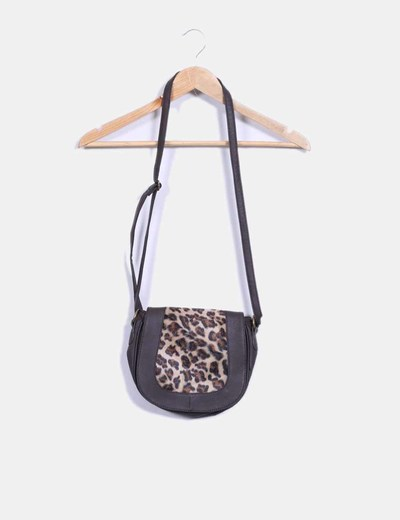 Bolso saddle marrón con estampado de leopardo NoName