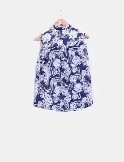 Blusa floral azul marino