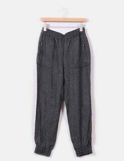 Pantalón gris jaspeado detalle goma Zara
