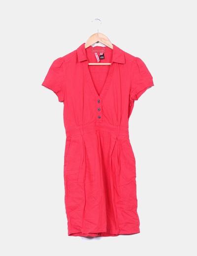 Vestido color frambuesa de lino Mango