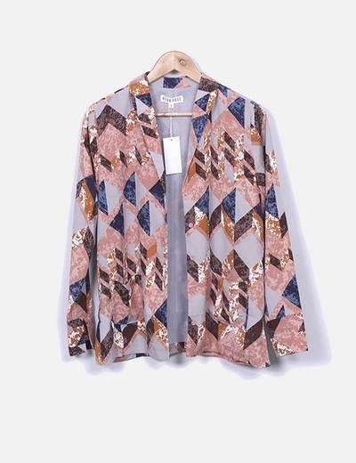 Kimono imprimé vintage Neon Rose
