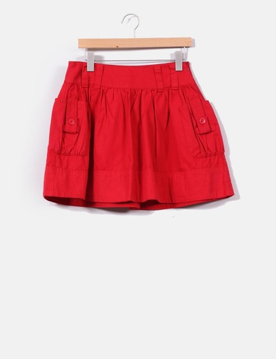 Falda roja con bolsillos Mango