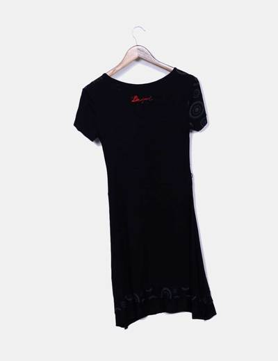 Vestido negro print manga corta