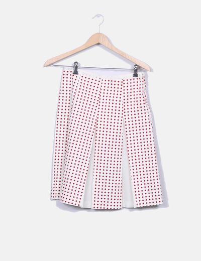 1ba106fca Falda midi cruda con lunares rojos