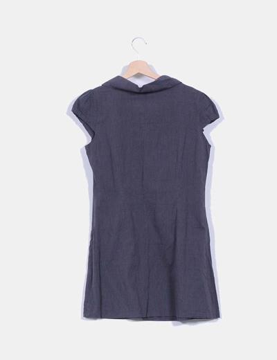 Vestido pichi estampado rayas finas detalle cuello