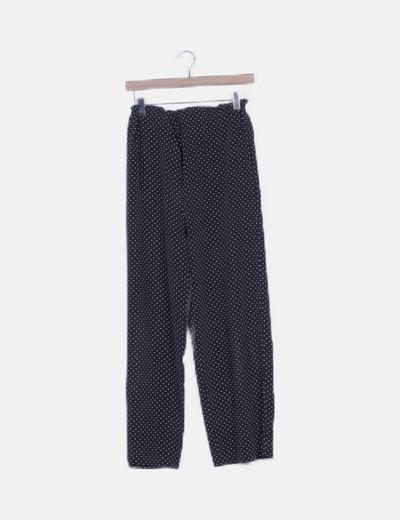 Pantalón fluido negro moteado