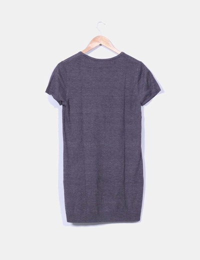 Vestido tricot manga corta gris marengo