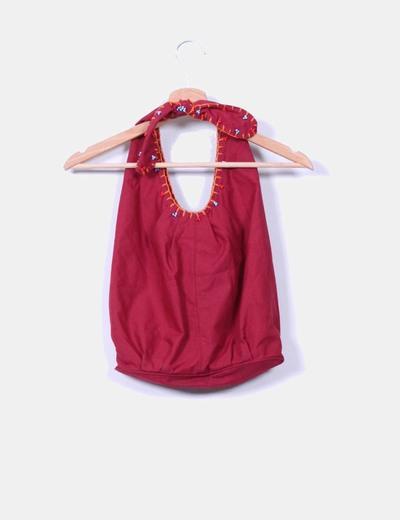 Bolso burdeos de tela estilo saco