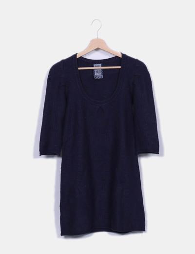 Robe bleu marine en tricot Bershka