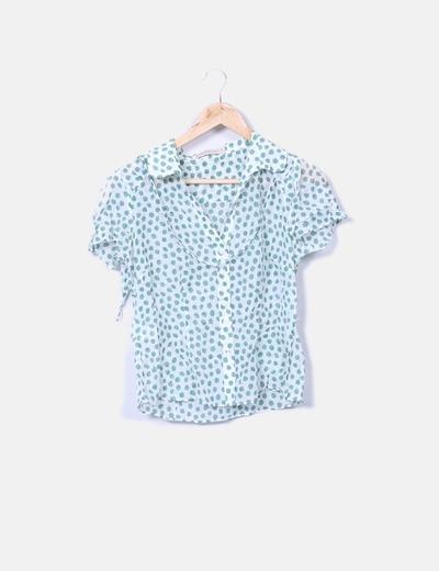 Camisa semitransparente blanca con motas verdes Purificación García