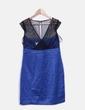 Vestido azul con malla y abalorios Suiteblanco