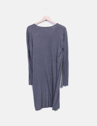Vestido midi tricot gris