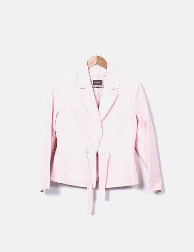 Conjunto de blazer y top rosa estampado