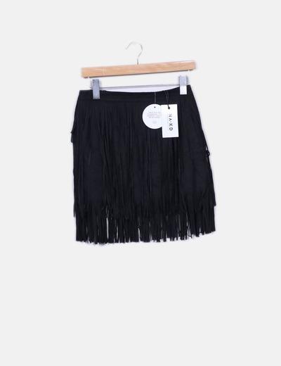 Minijupe noire en daim frangé NA-KD