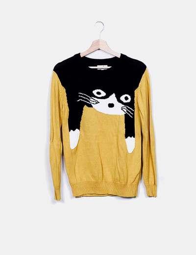Sweat-shirt noir et chat jaune Pepa Loves