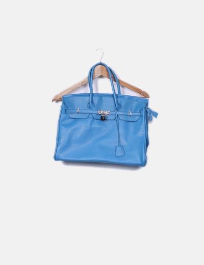 Sac bleu shopper avec motif verrouiller Suiteblanco