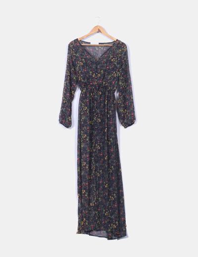 Maxi vestido estampado con abertura