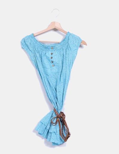Blusa azul manga corta con estampado Fórmula Joven