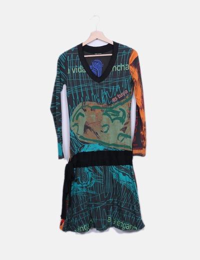 Vestido estampado multicolor detalle lazo