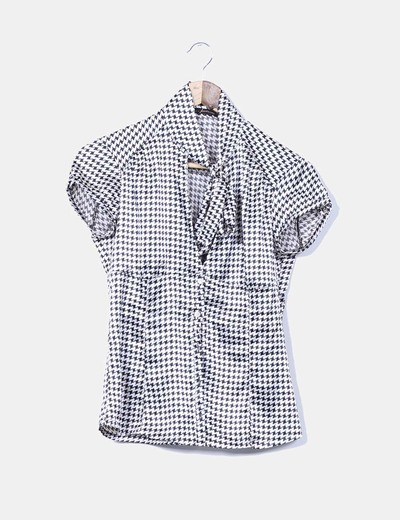 Camisa estampada pata de gallo satinada