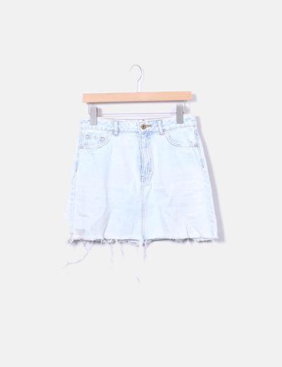 Saia jeans azul claro Pull&Bear