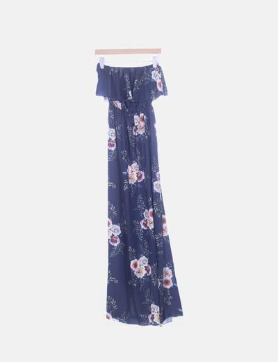 Maxi vestido azul marino floral con volante