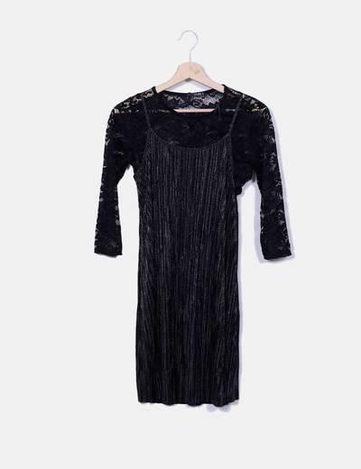 Vestido negro combinado glitter