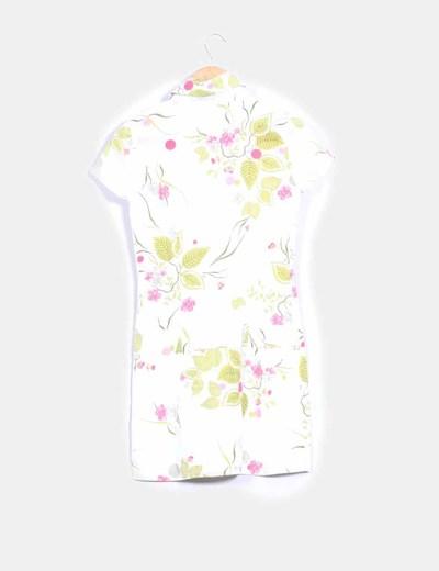 Vestido camisero blanco print floral