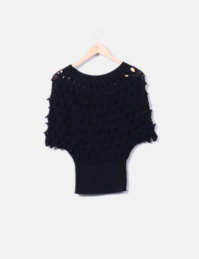 Jersey de punto negro texturizado