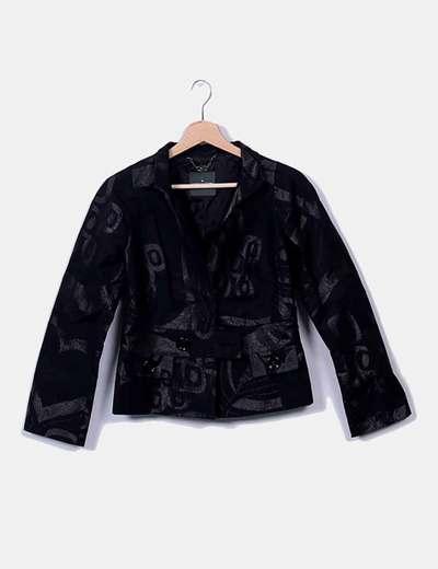 Blazer negra con detalles glitter