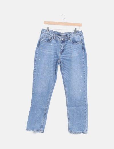 Pantalón denim con strass
