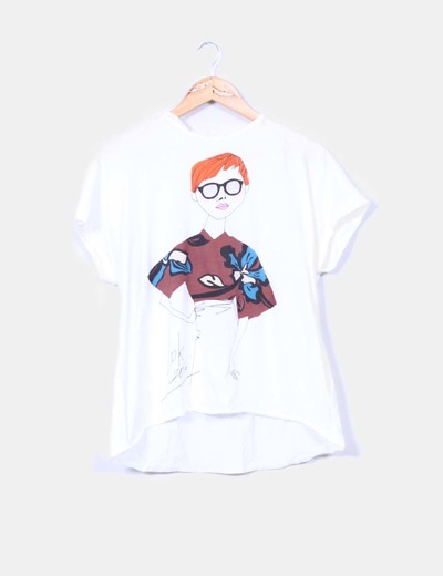 Camiseta blanca print mujer Zara