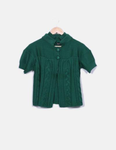 Chaqueta tricot verde de manga corta NoName