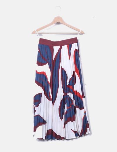 Falda plisada floral combinada