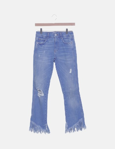 Jeans denim bajo desflecado