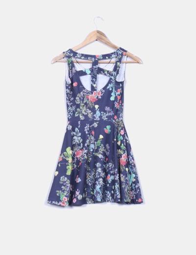 Vestido azul print floral con vuelo
