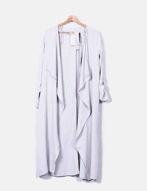 gris Trench de Chaquetas y baratos online Mujer larga Abrigos EwP6qB
