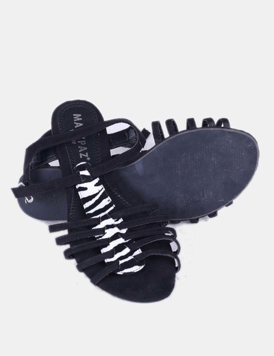 Sandalia negra print animal