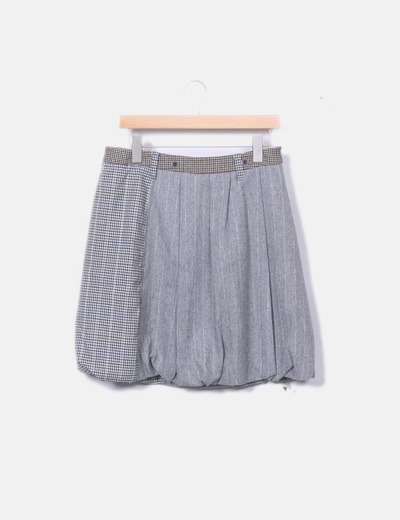 Falda combinada gris