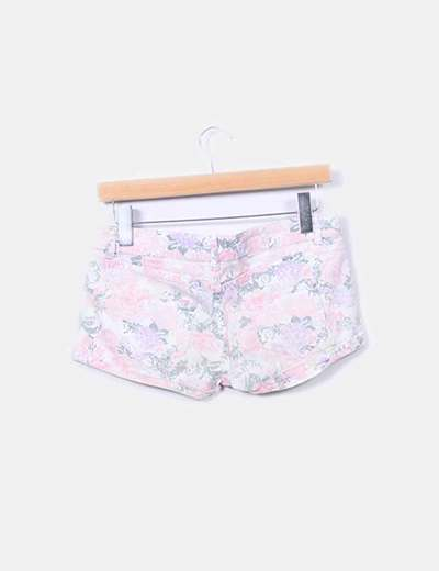 Shorts denim print floral