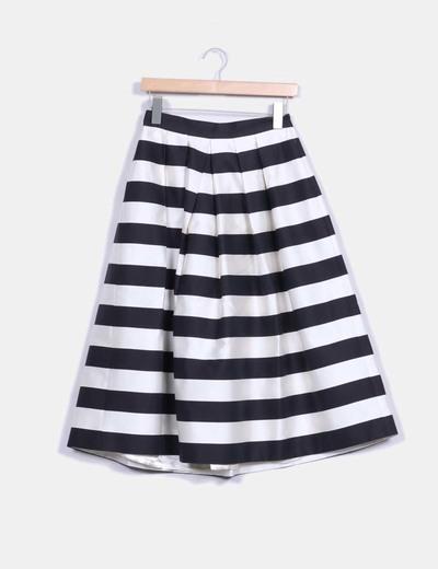 Falda midi rayas blancas y negras Alicia Rueda