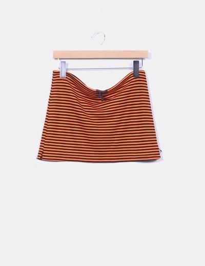 Mini falda naranja rayas negras NoName
