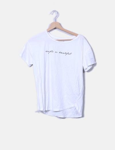 Camiseta blanca frase Pull&Bear