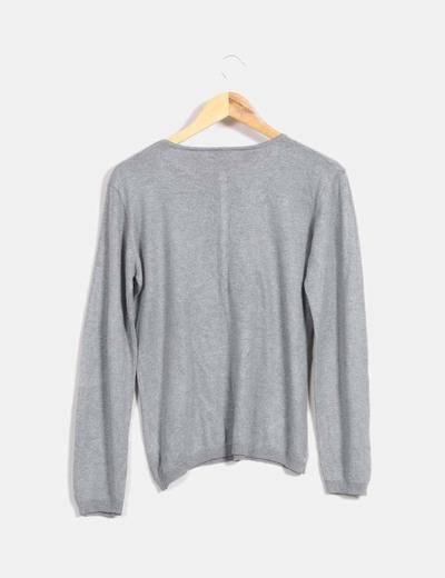 Jersey fino gris con botones