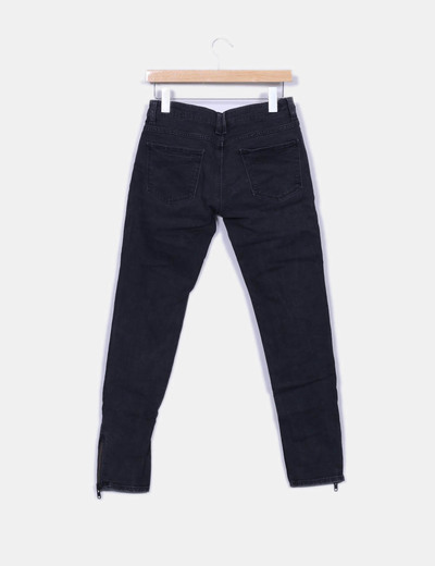 Jeans denim negro cremalleras