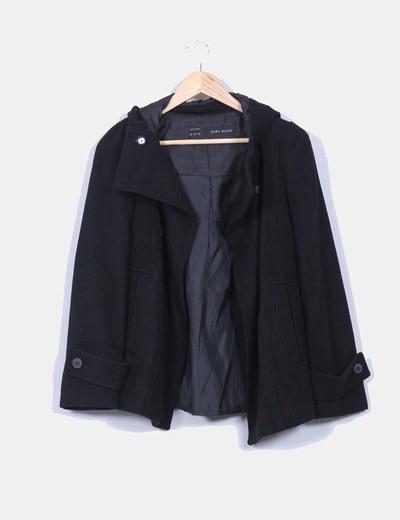 disponibilidad en el reino unido 44658 964d7 Abrigo corto negro con capucha