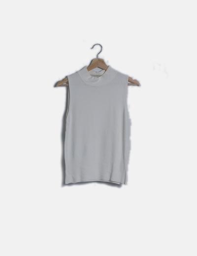 Jersey blanco tricot ribetes plisados